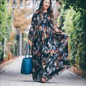 Shabby Apple Floral Maxi Shear Long Sleeve Dress